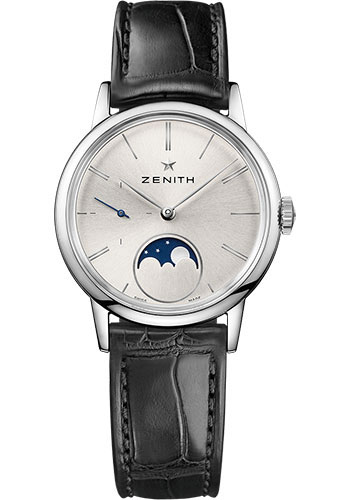 Zenith Watches - Elite Lady Moonphase 33 mm - Steel - Alligator Strap - Style No: 03.2330.692/01.C714