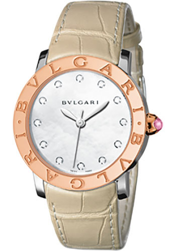 Bulgari Watches - Bulgari Bulgari 33 mm - Steel and Pink Gold - Alligator Strap - Style No: 101893 BBL33WSPGL/12