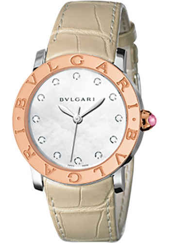 Bulgari Watches - Bulgari Bulgari 37 mm - Steel and Pink Gold - Alligator Strap - Style No: 101895 BBL37WSPGL/12