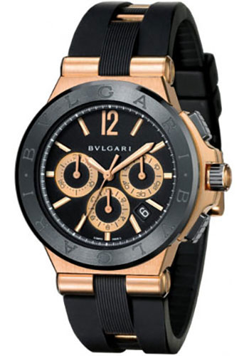 Bulgari Watches - Diagono 42 mm - Pink Gold and Black Ceramic - Style No: 101987 DGP42BGCVDCH