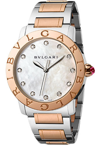 Bulgari Watches - Bulgari Bulgari 37 mm - Steel and Pink Gold - Bracelet - Style No: 102012 BBL37WSPG/12