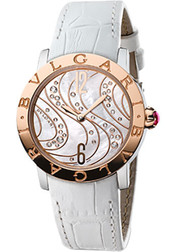 Bulgari Watches - Bulgari Bulgari 33 mm - Steel and Pink Gold - Alligator Strap - Style No: 102027 BBL33WCDSPGL
