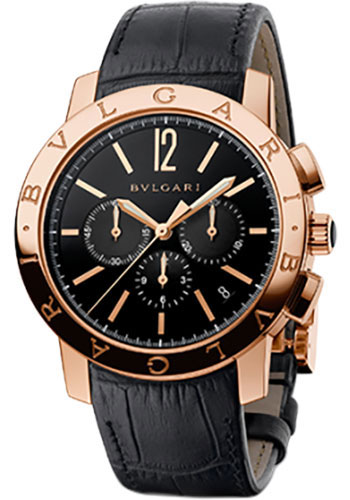 Bulgari Watches - Bulgari Bulgari Chronograph - 41 mm - Pink Gold - Alligator Strap - Style No: 102044 BBP41BGLDCH