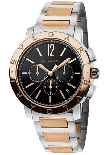 Bulgari Watches - Bulgari Bulgari Chronograph - 41 mm - Steel and Pink Gold - Bracelet - Style No: 102140 BB41BSPGDCH