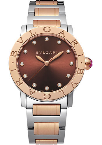 Bulgari Watches - Bulgari Bulgari 33 mm - Steel and Pink Gold - Bracelet - Style No: 102157