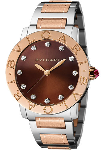 Bulgari Watches - Bulgari Bulgari 37 mm - Steel and Pink Gold - Bracelet - Style No: 102159