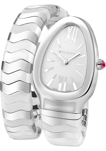 Bulgari Watches - Serpenti 35 mm - White Ceramic and Steel - Style No: 102182 SP35WSWCS.1T