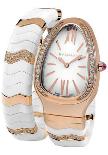 Bulgari Watches - Serpenti 35 mm - White Ceramic and Rose Gold - Style No: 102202 SPP35WGDWCGD1.1T