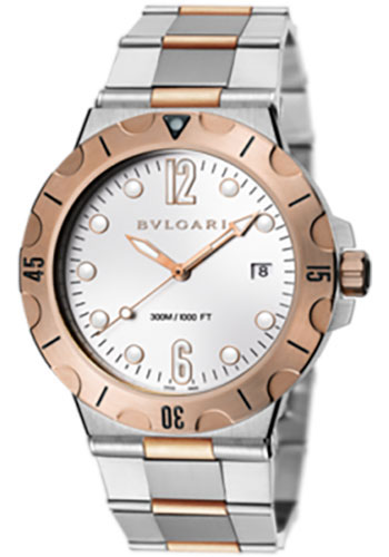Bulgari Watches - Diagono Scuba 41 mm - Steel and Pink Gold - Style No: 102325 DP41WSPGSD