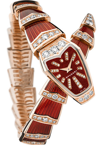 Bulgari Watches - Serpenti Jewellery - 26 mm - Pink Gold Curved - Style No: 102345