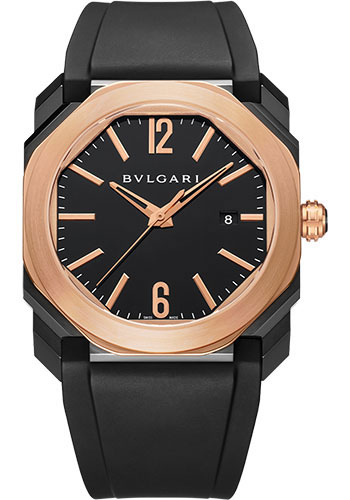 Bulgari Watches - Octo 41 mm - Black Steel and Pink Gold - Style No: 102485