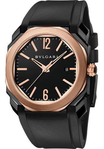Bulgari Watches - Octo 41 mm - Black Steel and Pink Gold - Style No: 102485 BGO41BBSPGVD