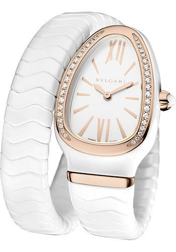 Bulgari Watches - Serpenti 35 mm - White Ceramic and Pink Gold - Style No: 102613 SPC35WGDWCGD1.1T