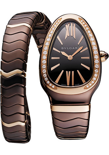Bulgari Watches - Serpenti Spiga - 35 mm - Brown Ceramic - Style No: 103060