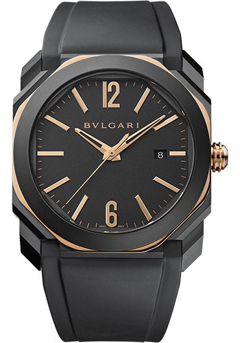 Bulgari Watches - Octo 41 mm - Black Steel and Pink Gold - Style No: 103085