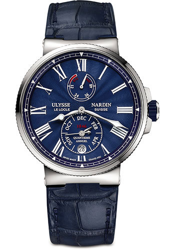 Ulysse Nardin Watches - Marine Chronometer 43mm - Stainless Steel - Leather Strap - Style No: 1133-210/E3