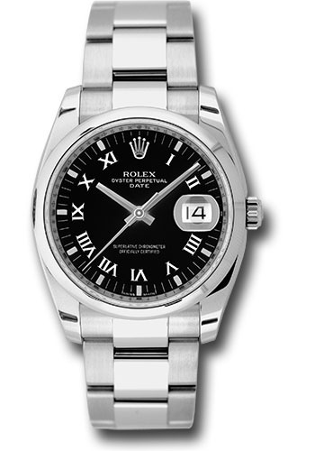 Rolex Watches - Date 34mm Domed Bezel - Oyster Bracelet - Style No: 115200 bkro