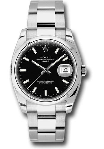 Rolex Watches - Date 34mm Domed Bezel - Oyster Bracelet - Style No: 115200 bkio