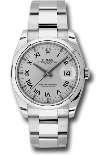 Rolex Watches - Date 34mm Domed Bezel - Oyster Bracelet - Style No: 115200 sro
