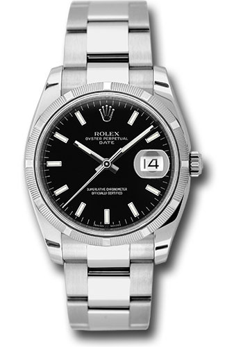 Rolex Watches - Date 34mm Engine Turned Bezel - Oyster Bracelet - Style No: 115210 bkio