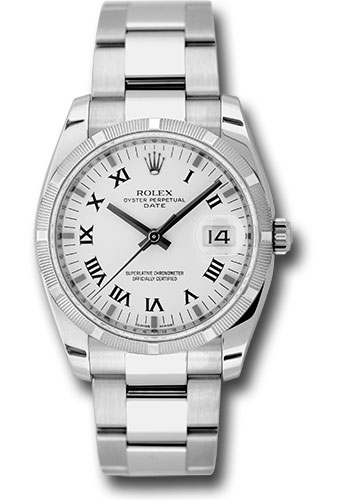 Rolex Oyster Perpetual Date Watches 34mm polished stainless steel case, engine turned bezel, white dial, black Roman numerals with silver index hour m