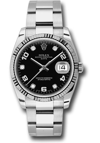 Rolex Watches - Date 34mm Fluted Bezel - Oyster Bracelet - Style No: 115234 bkdo