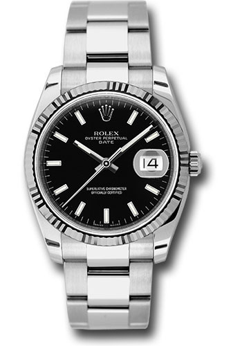 Rolex Watches - Date 34mm Fluted Bezel - Oyster Bracelet - Style No: 115234 bkso