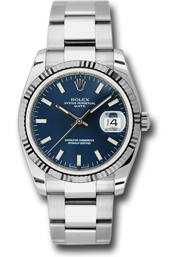 Rolex Watches - Date 34mm Fluted Bezel - Oyster Bracelet - Style No: 115234 blio