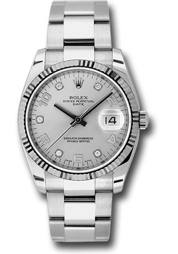 Rolex Watches - Date 34mm Fluted Bezel - Oyster Bracelet - Style No: 115234 sdo