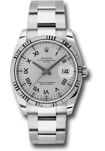 Rolex Watches - Date 34mm Fluted Bezel - Oyster Bracelet - Style No: 115234 sro