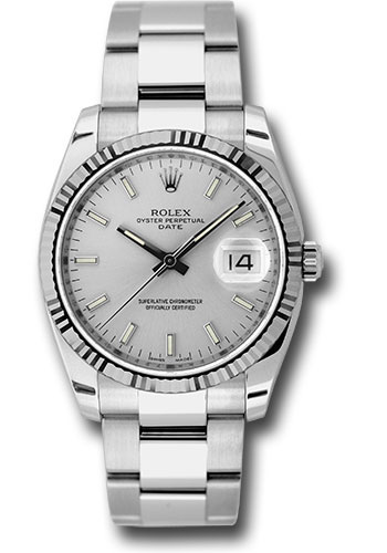 Rolex Watches - Date 34mm Fluted Bezel - Oyster Bracelet - Style No: 115234 sso
