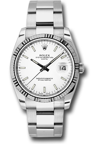 Rolex Watches - Date 34mm Fluted Bezel - Oyster Bracelet - Style No: 115234 wio