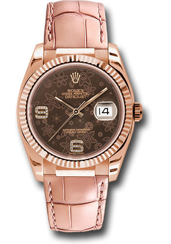 Rolex Watches - Datejust 36 Everose Gold - Fluted Bezel - Leather - Style No: 116135 brfdapl