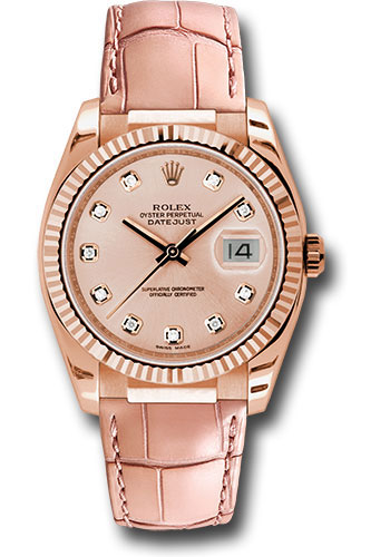 Rolex Watches - Datejust 36 Everose Gold - Fluted Bezel - Leather - Style No: 116135 pdpl