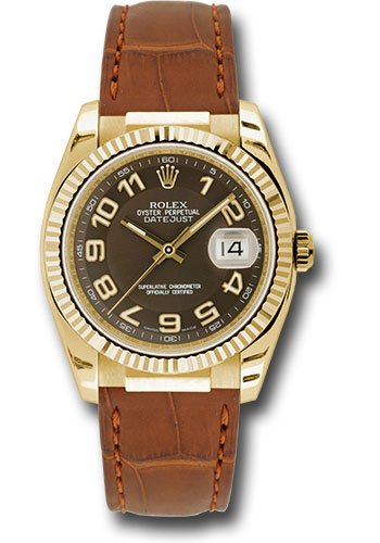 Rolex Watches - Datejust 36 Yellow Gold - Fluted Bezel - Leather - Style No: 116138 brab