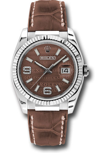 Rolex Watches - Datejust 36 White Gold - Fluted Bezel - Leather - Style No: 116139 brwdab