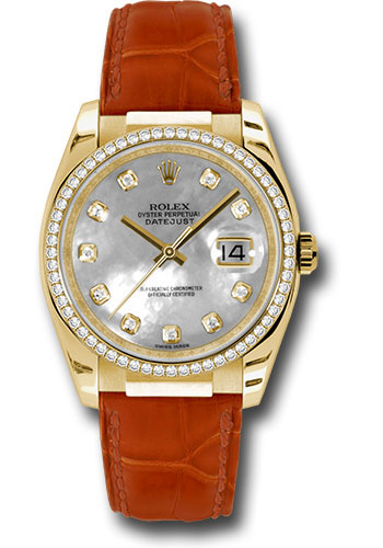 Rolex Watches - Datejust 36 Yellow Gold - Diamond Bezel - Leather - Style No: 116188 md