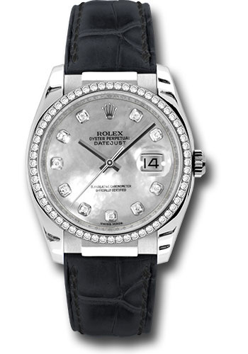 Rolex Watches - Datejust 36 White Gold - Diamond Bezel - Leather - Style No: 116189 md