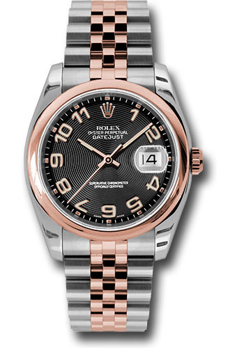 Rolex Watches - Datejust 36mm - Steel and Gold Pink Gold - Domed Bezel - Jubilee - Style No: 116201 bkcaj