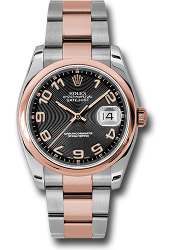 Rolex Watches - Datejust 36mm - Steel and Gold Pink Gold - Domed Bezel - Oyster - Style No: 116201 bkcao