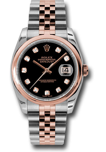 Rolex Watches - Datejust 36mm - Steel and Gold Pink Gold - Domed Bezel - Jubilee - Style No: 116201 bkdj