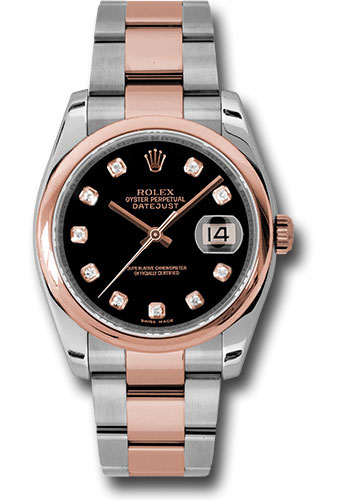 Rolex Watches - Datejust 36mm - Steel and Gold Pink Gold - Domed Bezel - Oyster - Style No: 116201 bkdo