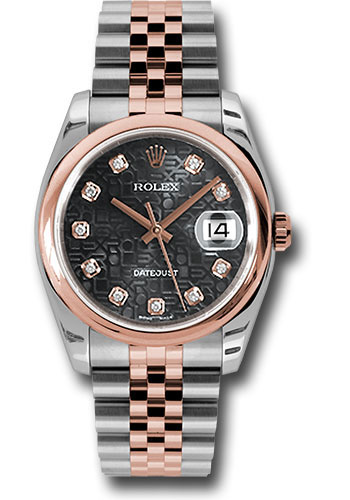 Rolex Watches - Datejust 36 Steel and Pink Gold - Domed Bezel - Jubilee - Style No: 116201 bkjdj