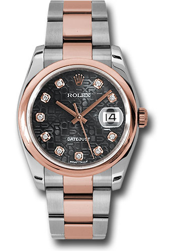 Rolex Watches - Datejust 36mm - Steel and Gold Pink Gold - Domed Bezel - Oyster - Style No: 116201 bkjdo