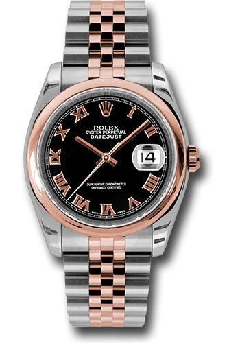 Rolex Watches - Datejust 36mm - Steel and Gold Pink Gold - Domed Bezel - Jubilee - Style No: 116201 bkrj
