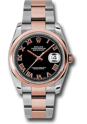 Rolex Watches - Datejust 36mm - Steel and Gold Pink Gold - Domed Bezel - Oyster - Style No: 116201 bkro