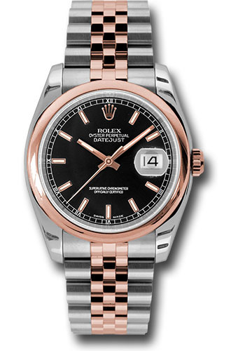Rolex Watches - Datejust 36mm - Steel and Gold Pink Gold - Domed Bezel - Jubilee - Style No: 116201 bksj