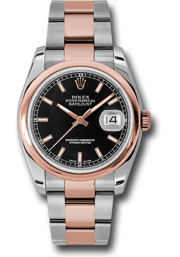 Rolex Watches - Datejust 36mm - Steel and Gold Pink Gold - Domed Bezel - Oyster - Style No: 116201 bkso