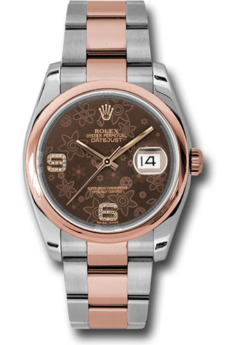 Rolex Watches - Datejust 36mm - Steel and Gold Pink Gold - Domed Bezel - Oyster - Style No: 116201 brfdao
