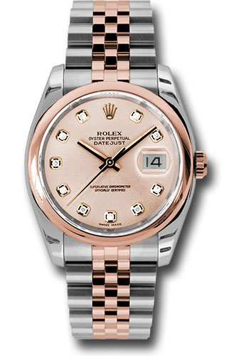 Rolex Watches - Datejust 36mm - Steel and Gold Pink Gold - Domed Bezel - Jubilee - Style No: 116201 chdj